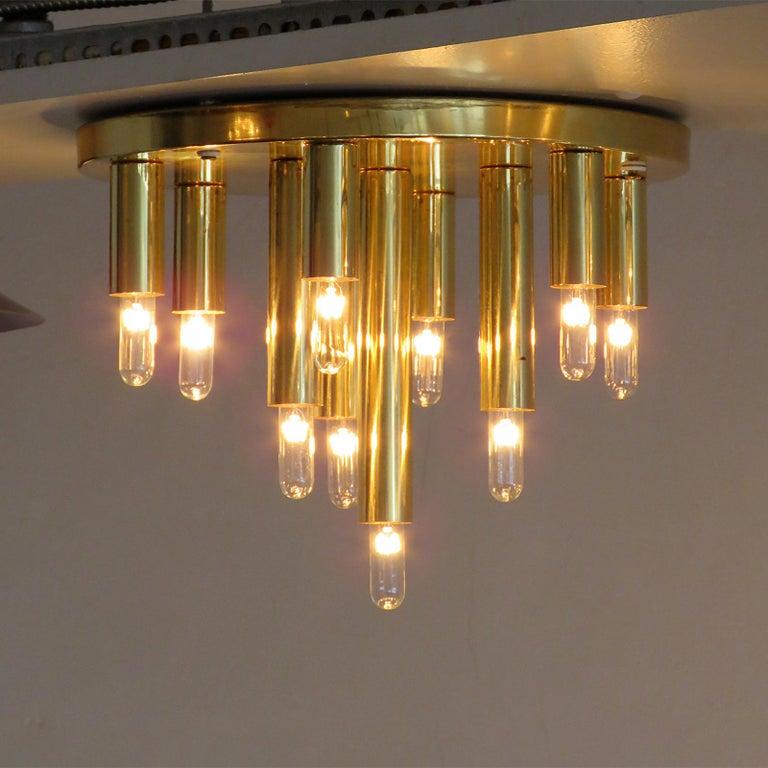 Brass German Ten-Light Flush Mount Light Panel For Sale