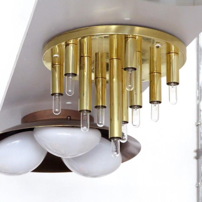 Polished German Ten-Light Flush Mount Light Panel For Sale