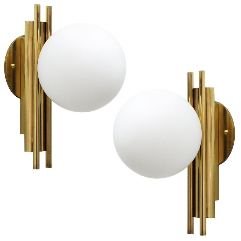 Pair of Italian Globe Wall Lights, 1950 For Sale