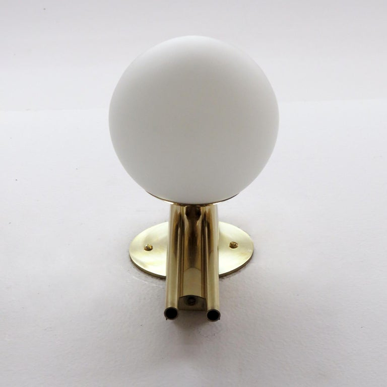 Brass Pair of Italian Globe Wall Lights, 1950 For Sale