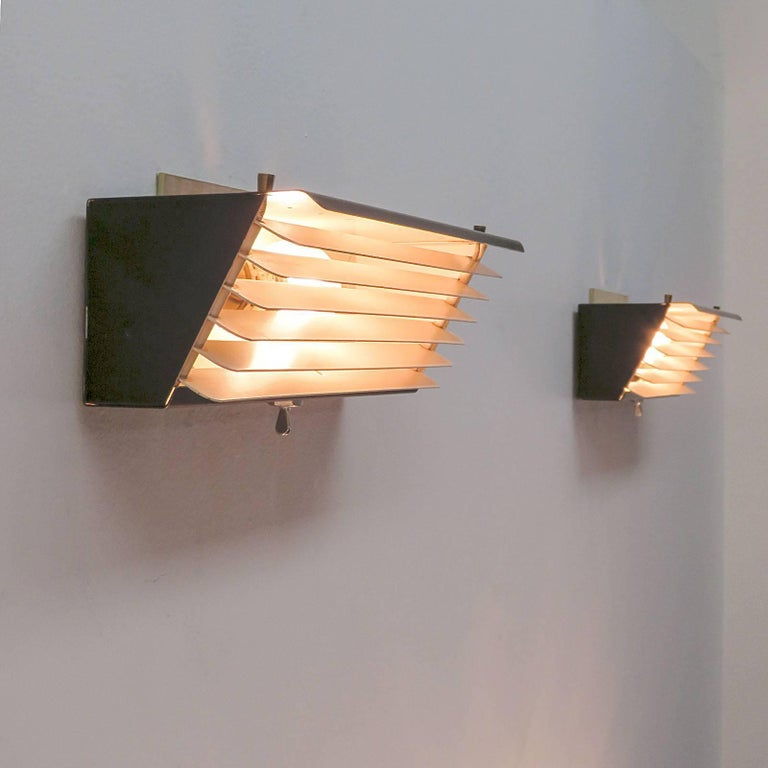 Metal Jacques Biny for Luminalite Edition Model '212' Wall Lights For Sale