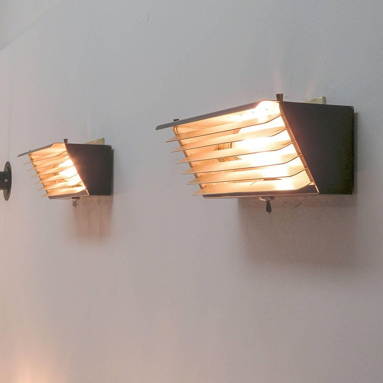 Jacques Biny for Luminalite Edition Model '212' Wall Lights For Sale 2