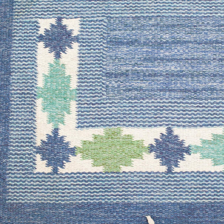 Hand-Knotted Vintage Swedish Rug by Ulla Parkdal, 1950 For Sale