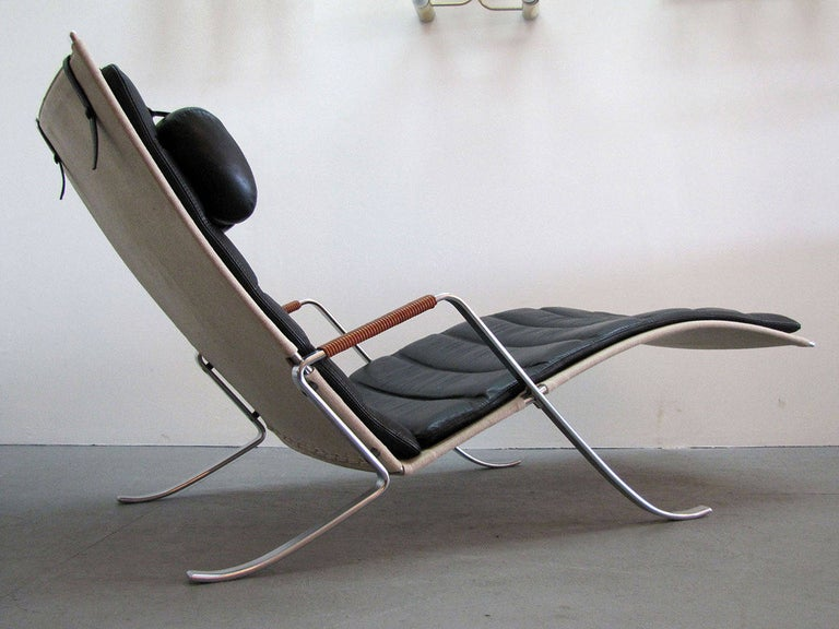 Preben Fabricius Jørgen Kastholm FK 87 'Grasshopper' Chaise Longue In Good Condition For Sale In Los Angeles, CA