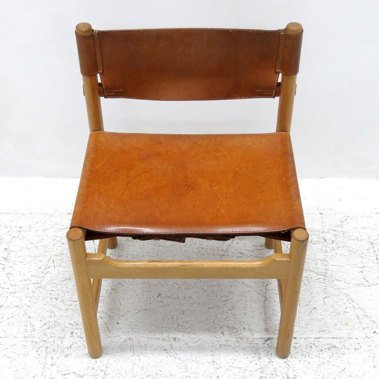 Leather Set of Børge Mogensen Dining Chairs, 1961 For Sale
