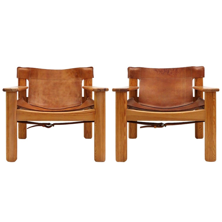 """Leather Lounge Chairs """"Natura"""" by Karin Mobring For Sale"""