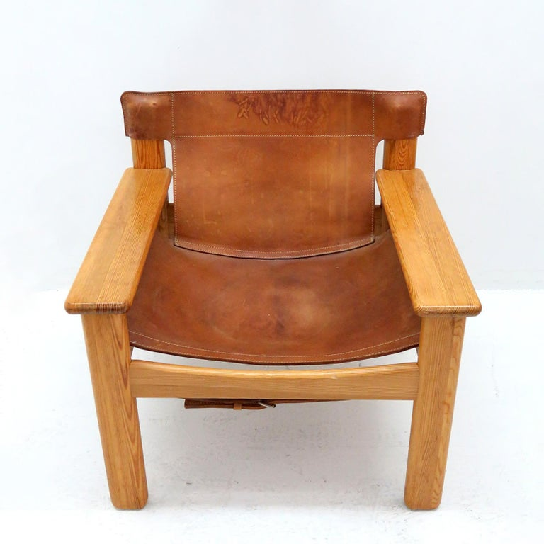 Scandinavian Modern Leather Lounge Chairs