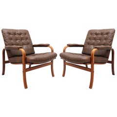 Swedish Bentwood Leather Chairs by Göte Möbler Nässjö