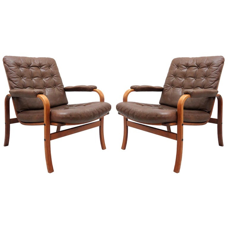 Swedish Bentwood Leather Chairs by Göte Möbler Nässjö For Sale