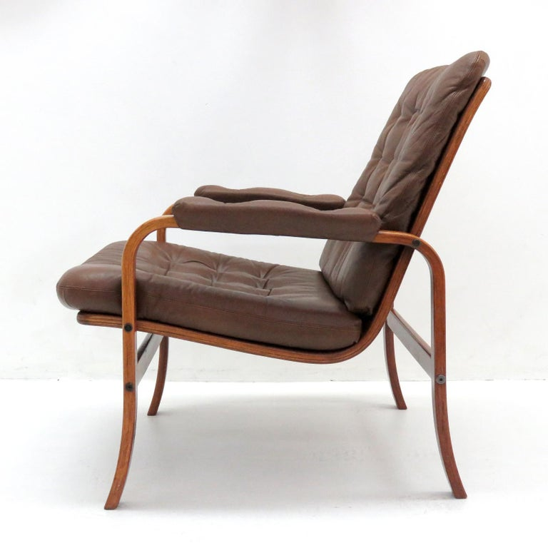 Mid-20th Century Swedish Bentwood Leather Chairs by Göte Möbler Nässjö For Sale