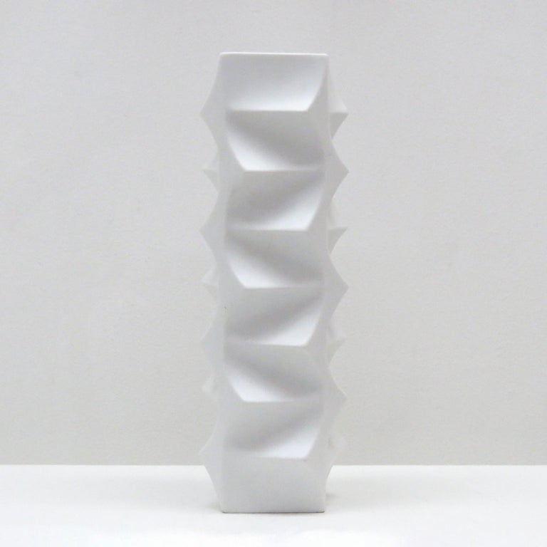 Sculptural porcelain vase by Heinrich Fuchs for Hutschenreuther, released between 1968 and 1970, large version model 5089/34, matte exterior, gloss interior, marked.