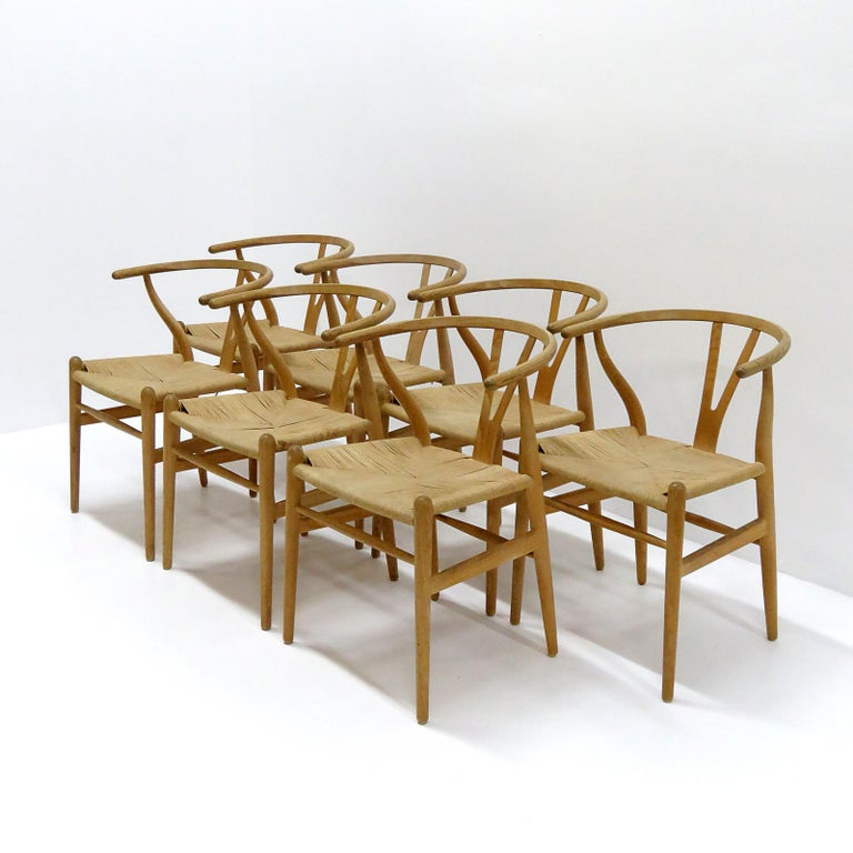 Leather Hans J. Wegner Model CH-24 Dining Chairs, 1950 For Sale