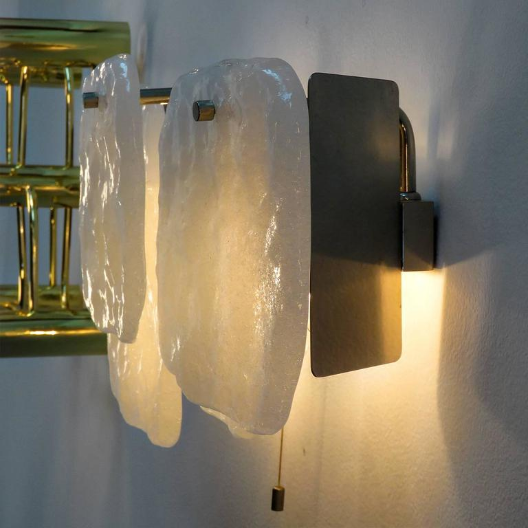 Wall Light Glass Panel : Kalmar Ice Glass Panel Wall Light, 1960s For Sale at 1stdibs