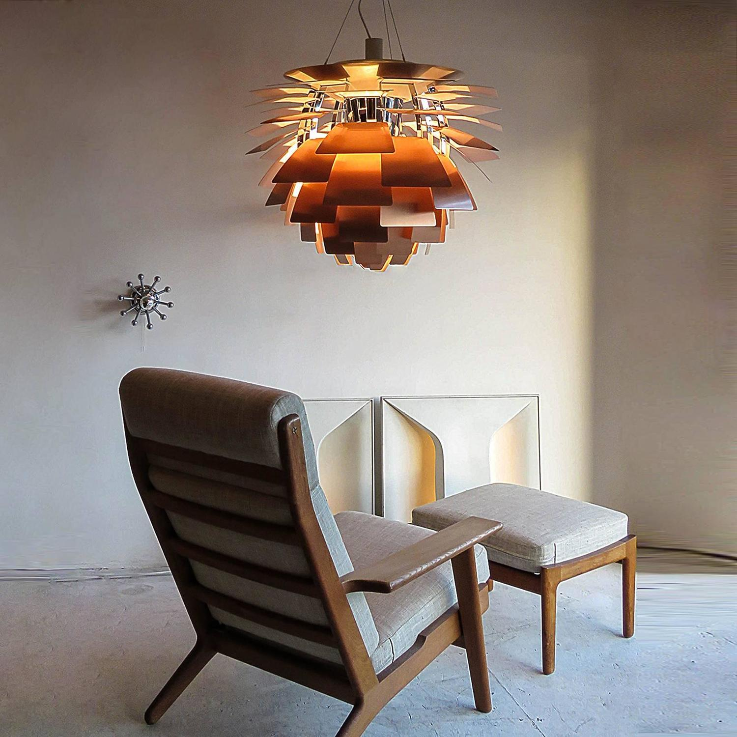 large ph artichoke copper lamp by poul henningsen for sale. Black Bedroom Furniture Sets. Home Design Ideas