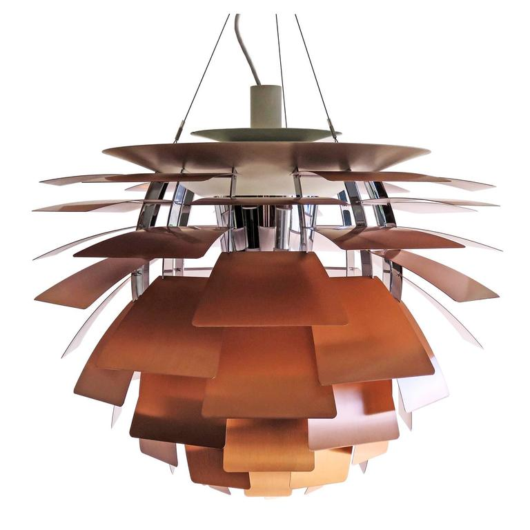 large ph artichoke copper lamp by poul henningsen for sale at 1stdibs. Black Bedroom Furniture Sets. Home Design Ideas