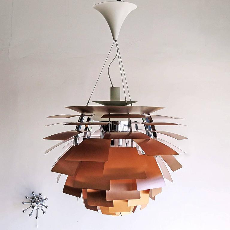 Large ph artichoke copper lamp by poul henningsen at 1stdibs vintage iconic brushed copper hanging pendant lamp by poul henningsen manufactured by louis poulsen mozeypictures Gallery