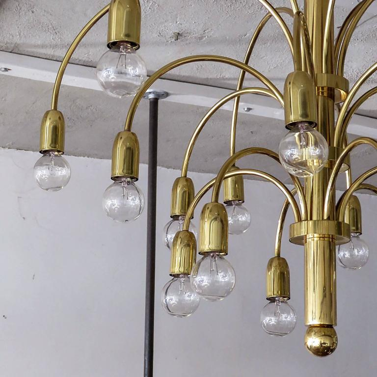 Mid-20th Century  German Flush Mount Fountain Chandelier  For Sale