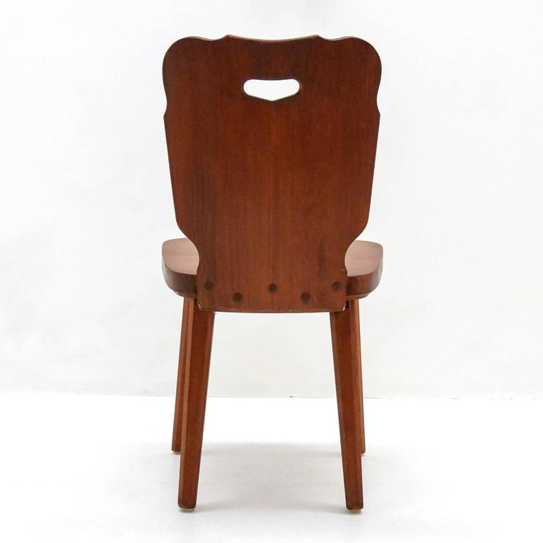 Set of Four Rustic Wooden Chairs For Sale at 1stdibs