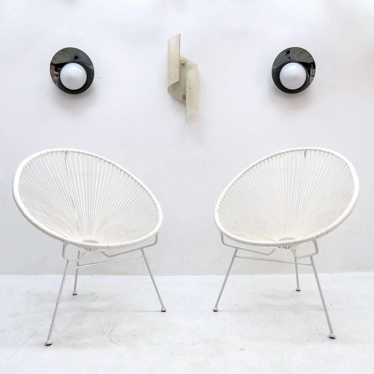 Wonderful Pair Of White Tripod Hoop Chairs In Style Of The Iconic 1960s Acapulco  Chair,