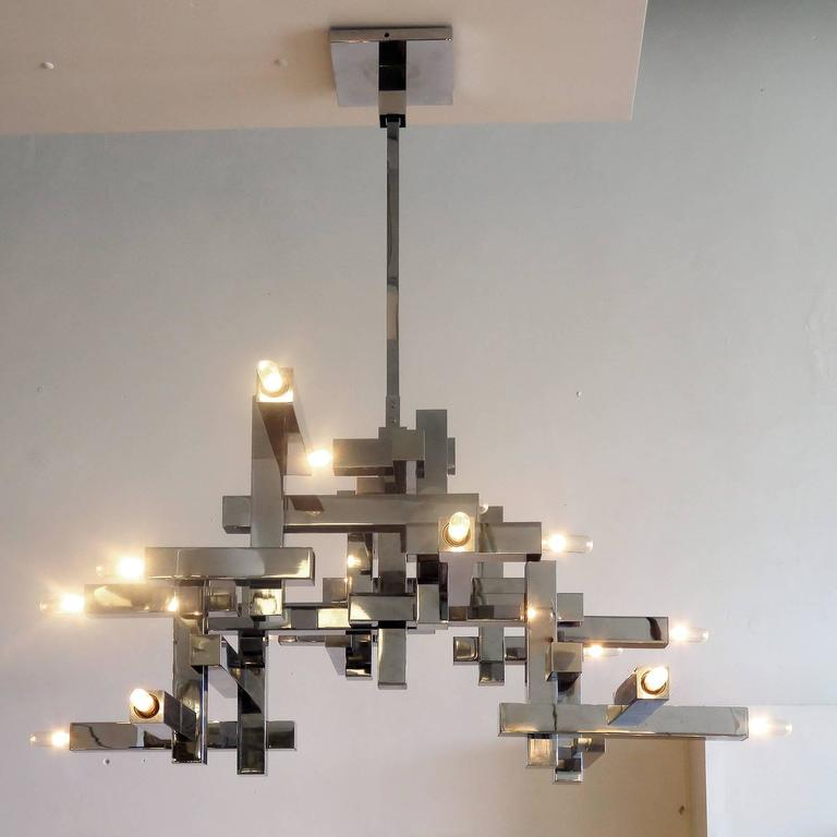 "Steel Gaetano Sciolari ""Metric"" Chandelier For Sale"