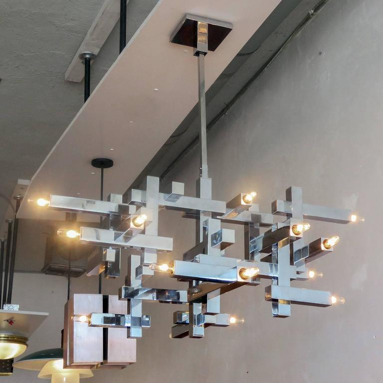 "Gaetano Sciolari ""Metric"" Chandelier For Sale 2"