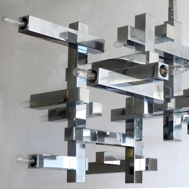 "Italian Gaetano Sciolari ""Metric"" Chandelier For Sale"