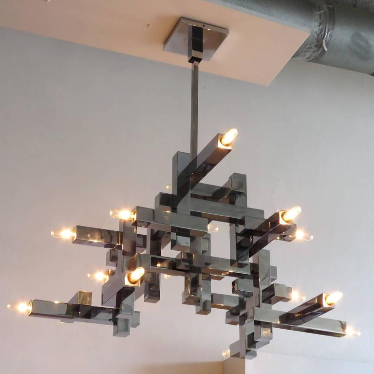 "Gaetano Sciolari ""Metric"" Chandelier For Sale 1"