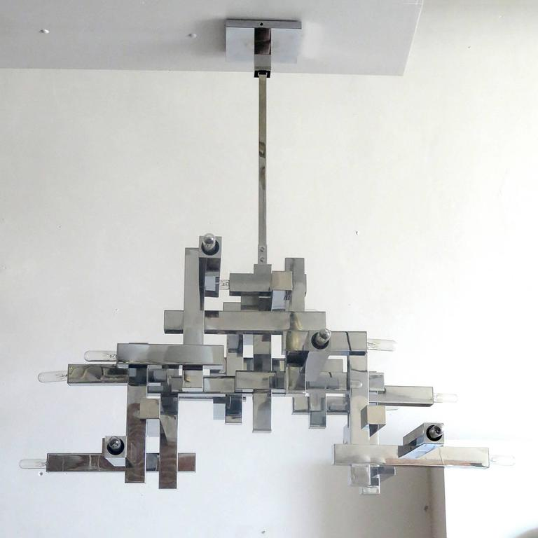 "Brutalist Gaetano Sciolari ""Metric"" Chandelier For Sale"