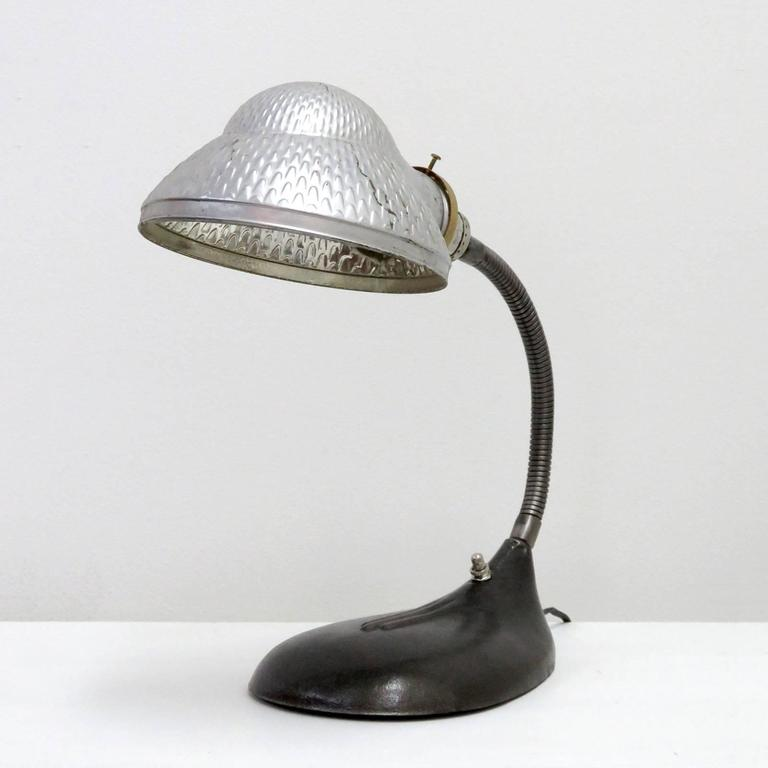 American Industrial Table Lamp With Mercury Glass Shade For Sale
