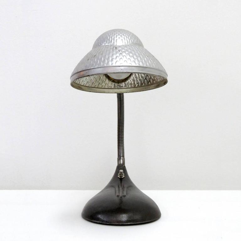 Industrial Table Lamp With Mercury Glass Shade For Sale At