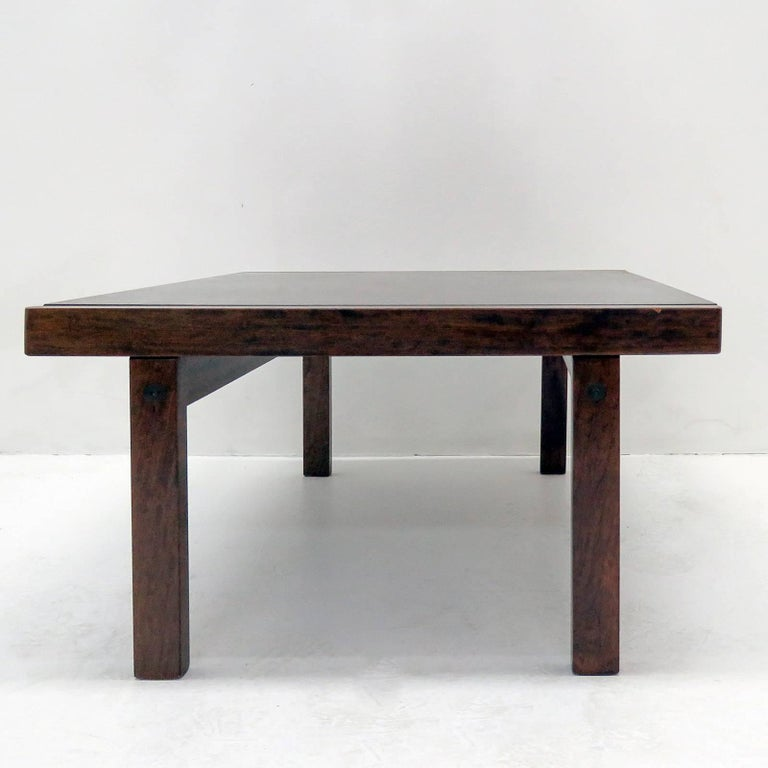 Wonderful, dark stained oak coffee table or side table by Torbjørn Afdal for Bruksbo, Norway, 1960.