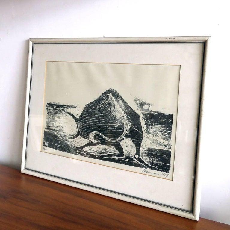 Mid-Century Modern Karl Heinz Hansen-Bahia 'Ox' Woodcut Print, 1959 For Sale