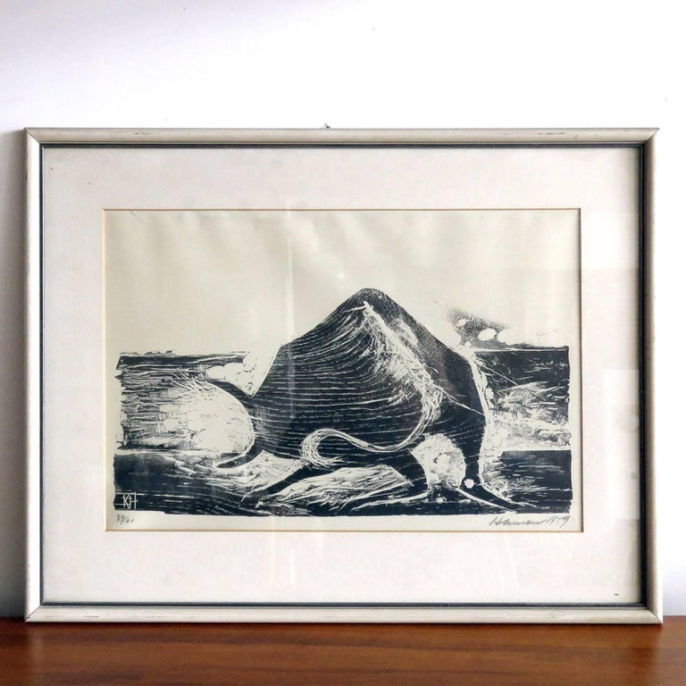 Wonderful wood cut print 'Ox' by Karl Heinz Hansen-Bahia, matted and framed behind glass, print size 12.25 in x 17.75 in, frame size 18.5 in x 23.25 in, ed. 39/60, signed and dated.