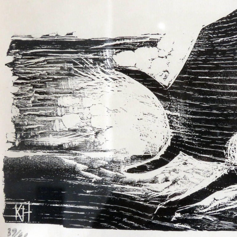 Karl Heinz Hansen-Bahia 'Ox' Woodcut Print, 1959 In Good Condition For Sale In Los Angeles, CA