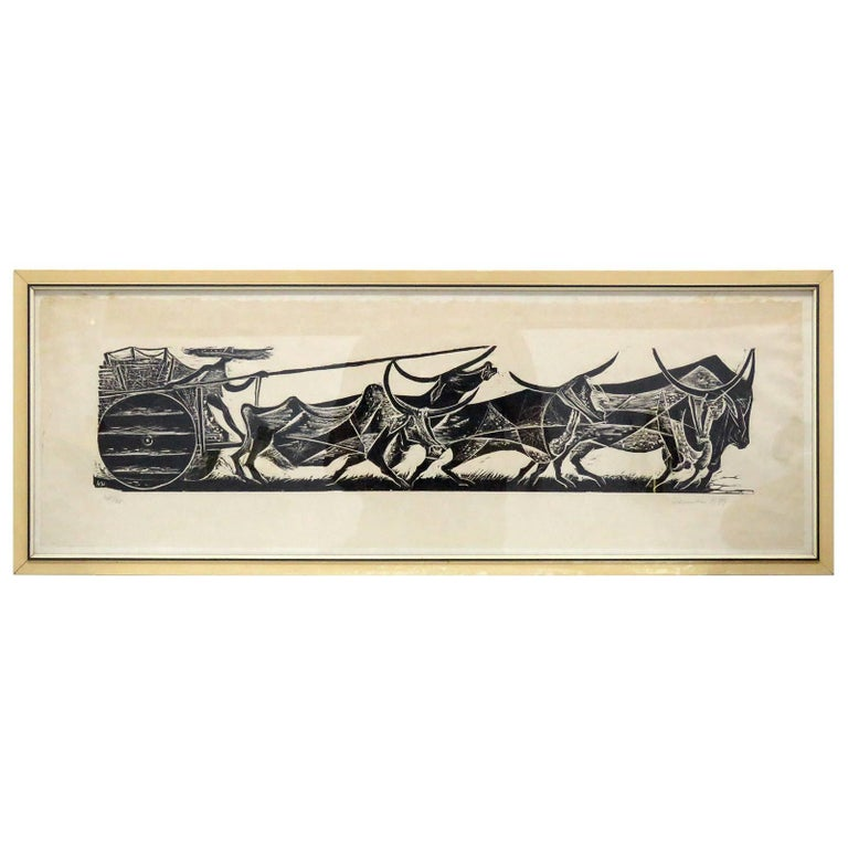 Karl Heinz Hansen-Bahia 'Big Team of Oxen' Woodcut Print, 1959 For Sale