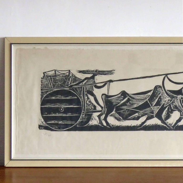 wonderful wood cut print 'Big Team of Oxen' by Karl Heinz Hansen-Bahia, 1959, framed behind glass, print size 12.25 in x 37.75 in, frame size 15 in x 40.5 in, ed. 40/70, signed and dated.