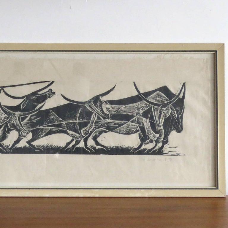 Mid-Century Modern Karl Heinz Hansen-Bahia 'Big Team of Oxen' Woodcut Print, 1959 For Sale