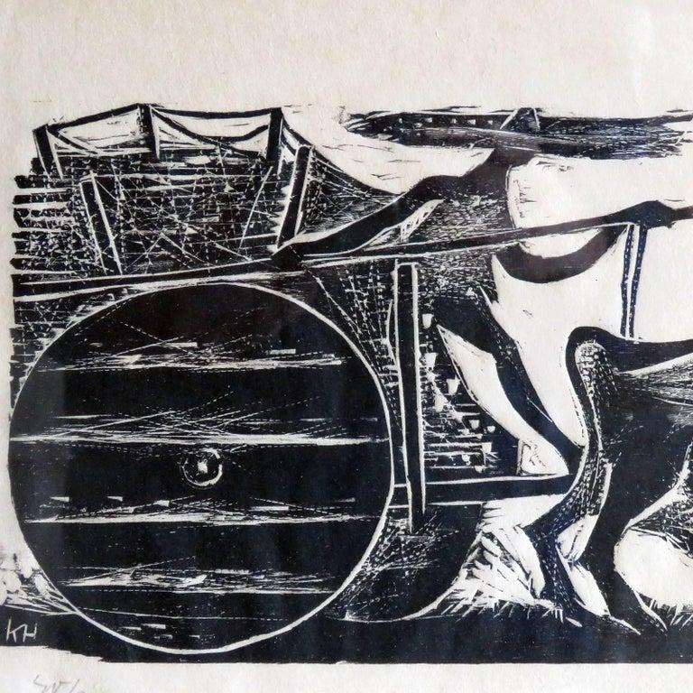 Karl Heinz Hansen-Bahia 'Big Team of Oxen' Woodcut Print, 1959 In Good Condition For Sale In Los Angeles, CA