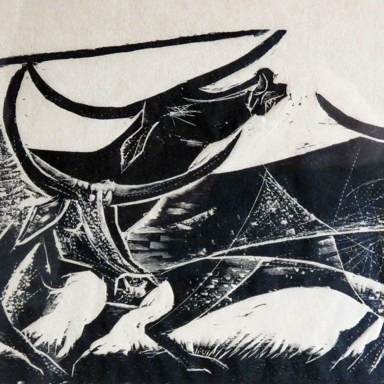 Mid-20th Century Karl Heinz Hansen-Bahia 'Big Team of Oxen' Woodcut Print, 1959 For Sale