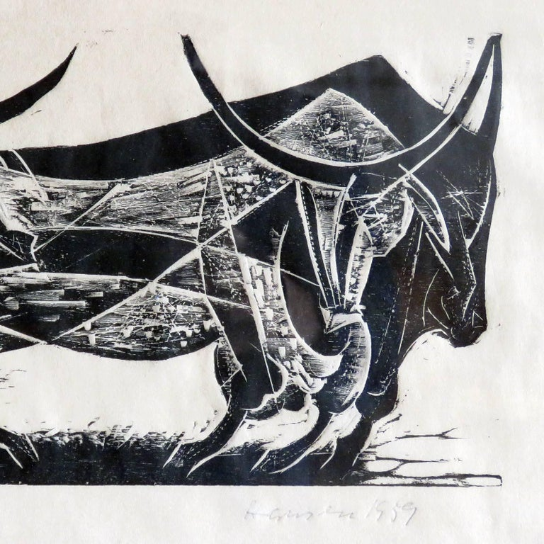 Glass Karl Heinz Hansen-Bahia 'Big Team of Oxen' Woodcut Print, 1959 For Sale
