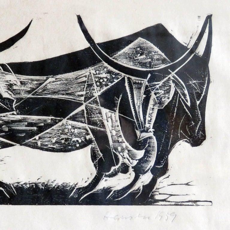 Karl Heinz Hansen-Bahia 'Big Team of Oxen' Woodcut Print, 1959 7