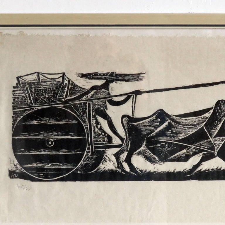 Karl Heinz Hansen-Bahia 'Big Team of Oxen' Woodcut Print, 1959 4
