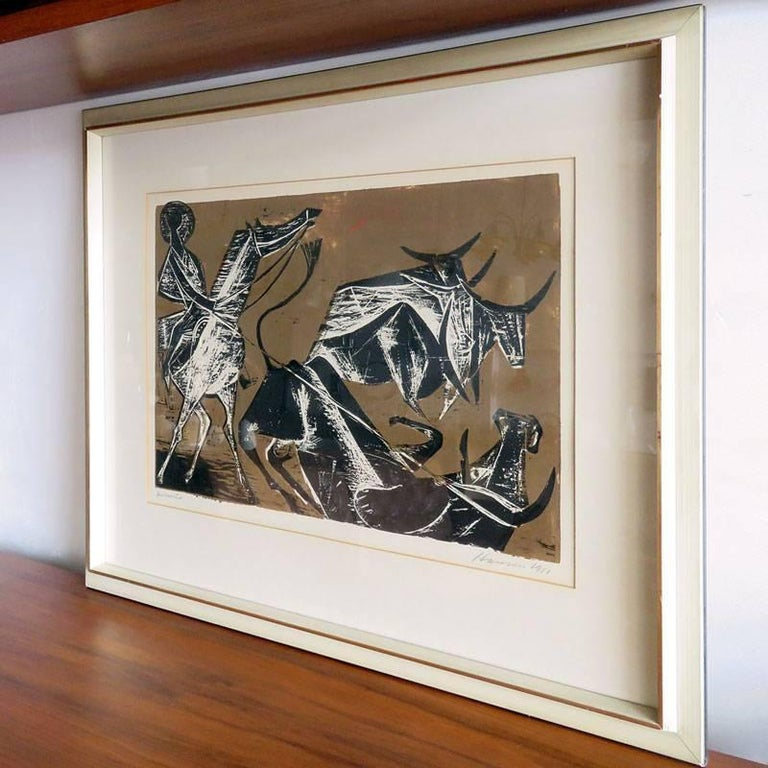 Wonderful wood cut test print 'Cowboy' by Karl Heinz Hansen-Bahia, matted and framed behind glass, print size 15.75 in x 23.75 in, frame size 26 in x 33 in, signed and dated.