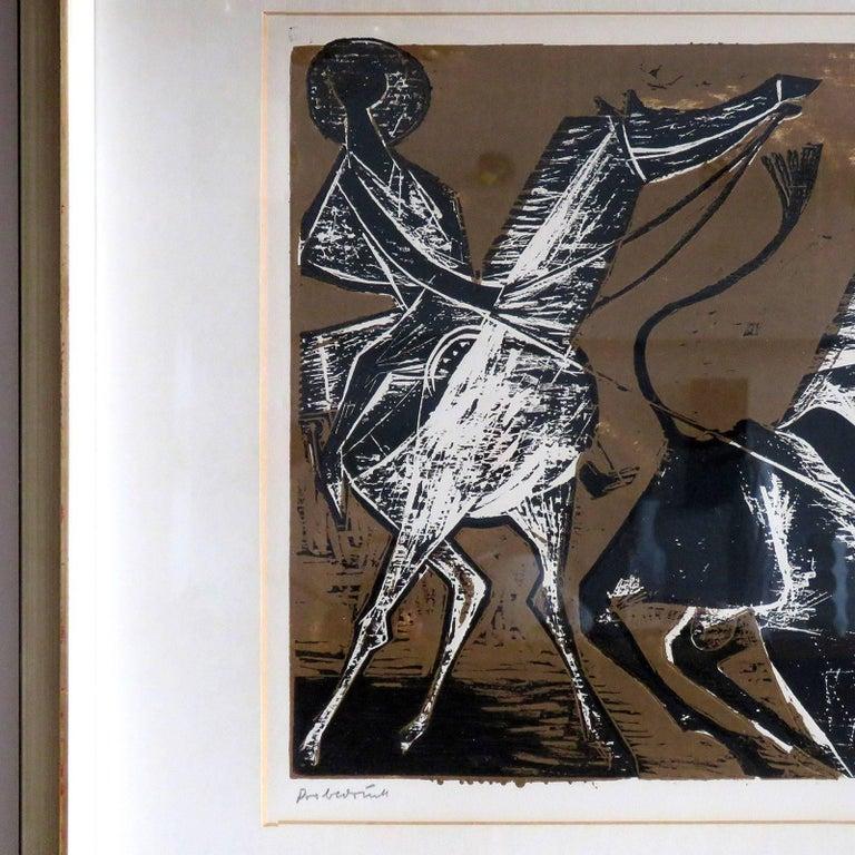 Mid-Century Modern Karl Heinz Hansen-Bahia 'Cowboy' Woodcut Print, 1960 For Sale
