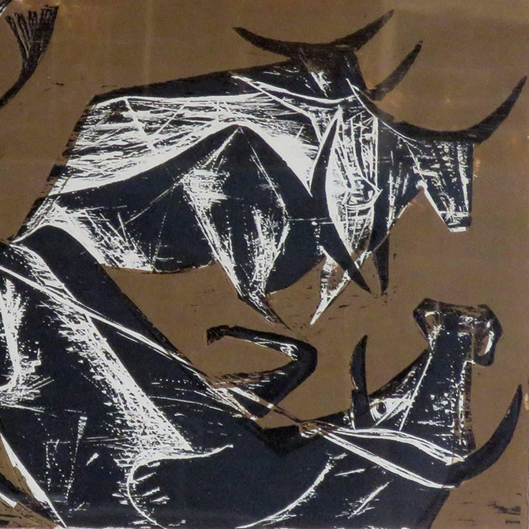 Karl Heinz Hansen-Bahia 'Cowboy' Woodcut Print, 1960 For Sale 1