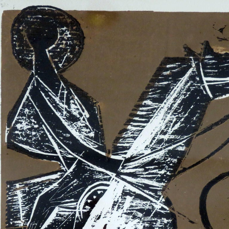 Mid-20th Century Karl Heinz Hansen-Bahia 'Cowboy' Woodcut Print, 1960 For Sale