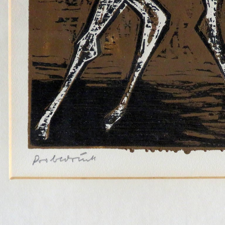 Karl Heinz Hansen-Bahia 'Cowboy' Woodcut Print, 1960 For Sale 2