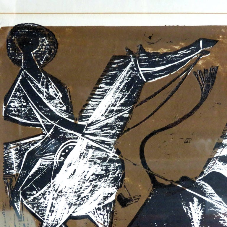 Karl Heinz Hansen-Bahia 'Cowboy' Woodcut Print, 1960 In Good Condition For Sale In Los Angeles, CA