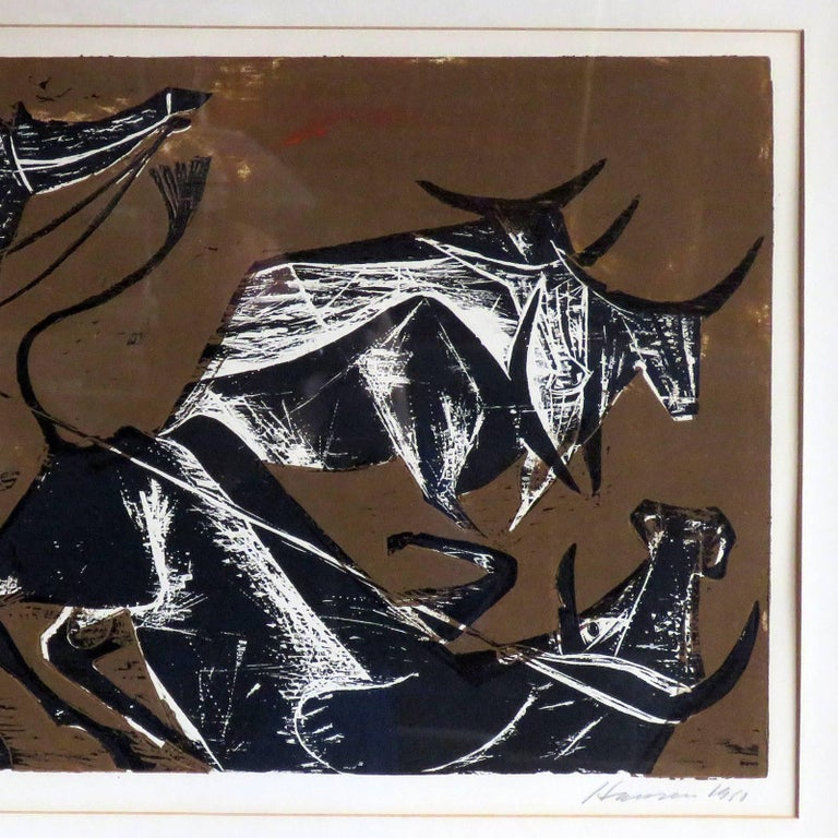 German Karl Heinz Hansen-Bahia 'Cowboy' Woodcut Print, 1960 For Sale