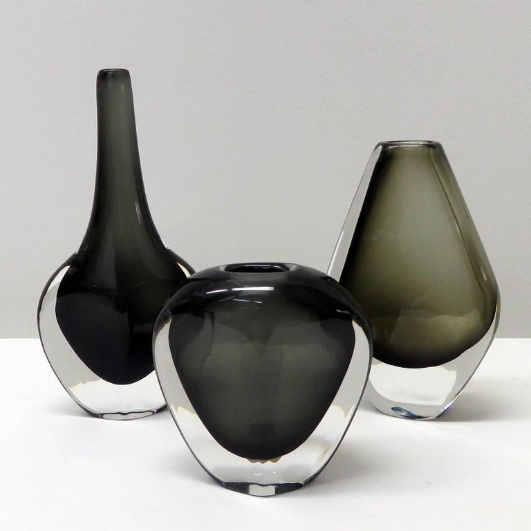 Stunning handblown, art glass vases by Nils Landberg for Orrefors in grey-green hues, signed.
